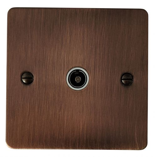 G&H FAC35W Flat Plate Antique Copper 1 Gang TV Coax Socket Point
